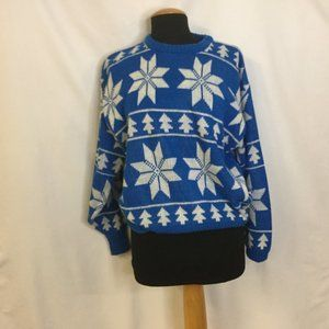 Vintage Sweater XL Blue Snowflakes